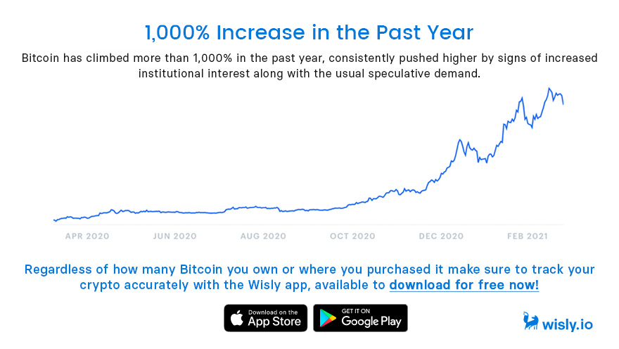 Bitcoin 1000% increase in Past Year - Cryptocurrency Tracker Wisly